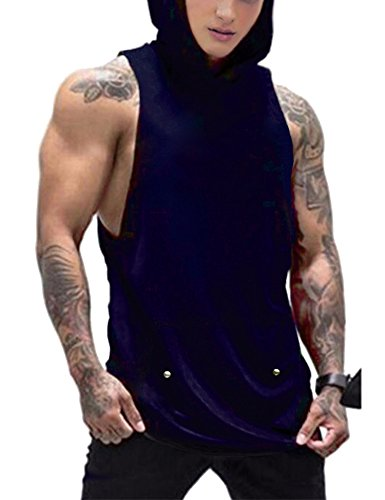 Daupanzees Men's Workout Hooded Tank Tops Bodybuilding Basic Fitness Hoodies Vest Muscle T Shirt (Navy Blue ()