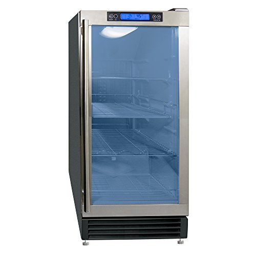 Maxx Ice MCBC3U Commercial 3 Cubic Ft Capacity Indoor Built-In Undercounter or Freestanding Glass Door Beverage Refrigerator Cooler Center Internal LED and Digital Controller, 14..5″ Wide, Black