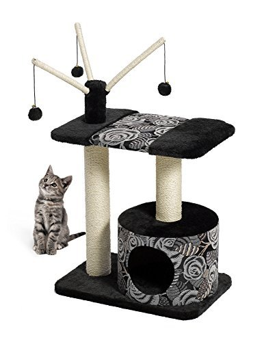 MidWest Homes for Pets Cat Tree | 'Resort' Cat Tree / Cat Furniture, 4-Tier Cat Tree w/ Sisal Wrapped Cat Scratching Support Posts, Hanging Cat Bunker Bed & High Canopy Cat Perch, Blue / White Pattern, Large Cat Tree