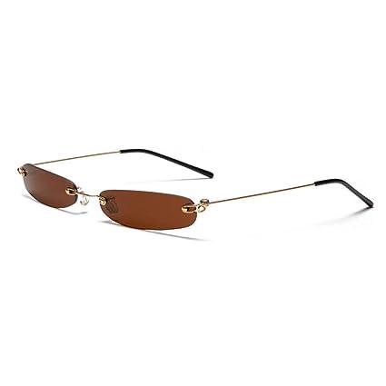 Wenkang Gafas de Sol estrechas para Hombre sin Montura de ...
