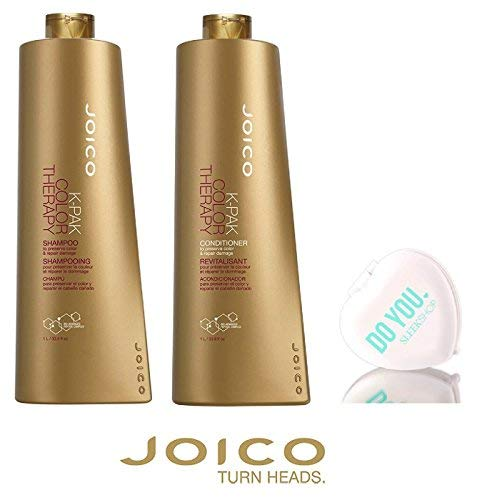 Joico K-Pak Color Therapy Shampoo & Conditioner DUO SET - to preserve color & repair damage (with Sleek Compact Mirror) (33.8 oz / 1000ml Large Liter DUO KIT.) ()