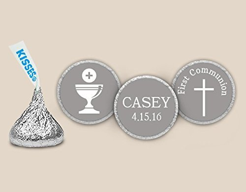 First Communion Candy (Faithful First Communion Stickers for HERSHEY KISSES - Charcoal (108 Count))