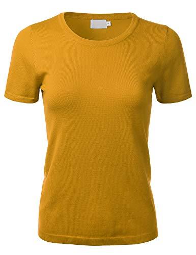 FLORIA Women's Soft Basic Crew Neck Pullover Short Sleeve Knit Sweater Mustard S