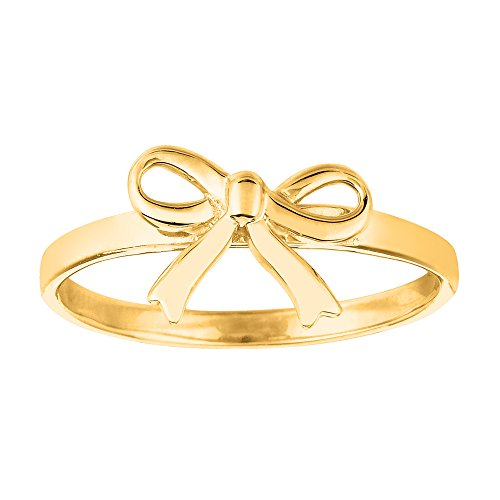 - 14K Yellow Gold Bow Design Ring, Size 7