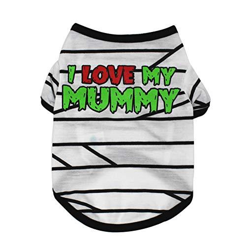 Himpokejg Lovely Pet Clothes, I Love My Mummy Stripe Pet Dog Short Sleeve Casual T-Shirt Puppy Summer Top - L -