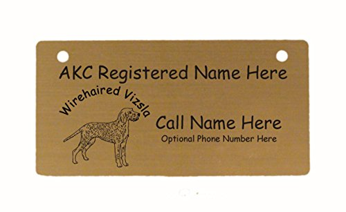 C4246 Wirehaired Vizsla Standing Crate Tag Personalized with Your Dog's Name 1