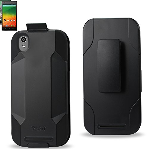 Reiko Silicone Case And Protector Cover for ZTE Zmax Z970 Tight Fit Offering Full Protection with Built-In Media Kickstand - Retail Packaging - Black