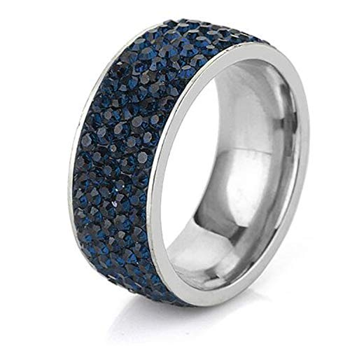5 Row Lines Clear Crystal Jewelry Fashion Stainless Steel Engagement Rings Dark Blue 5.5