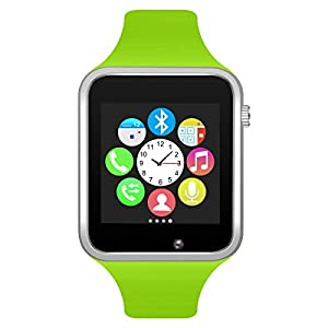 321OU Bluetooth Smart Watch Fitness Tracker, Touch Screen Smart Wrist Smartwatch Support SIM SD Card Slot Make/Answer Phone Camera Pedometer Compatible Android iOS Samsung LG for Women Men Kids