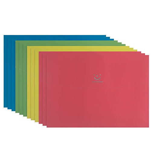 Closure Velcro Envelope (Fasmov Smile Letter Size Booklet Plastic Expansion Envelope Folders with Velcro, Poly Envelope,Document Folder,Pack of 12 (3Yellow,3Blue,3Green,3Pink))