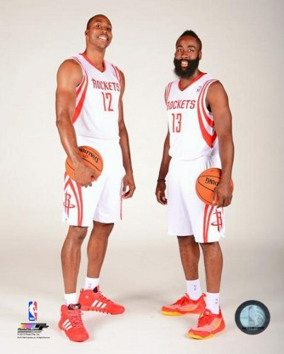 NBA Dwight Howard James Harden Houston Rockets 2013-2014 Studio Photo (Size: 8