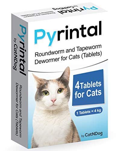 Pyrintal Cat Wormers Roundworm Tapeworm Dewormer Cats 4 Tablets (4 Tablets)