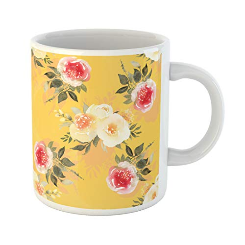 Semtomn Funny Coffee Mug Blue Aroma Pink Roses Bouquet Watercolor Shabby Chic Bloom 11 Oz Ceramic Coffee Mugs Tea Cup Best Gift Or -