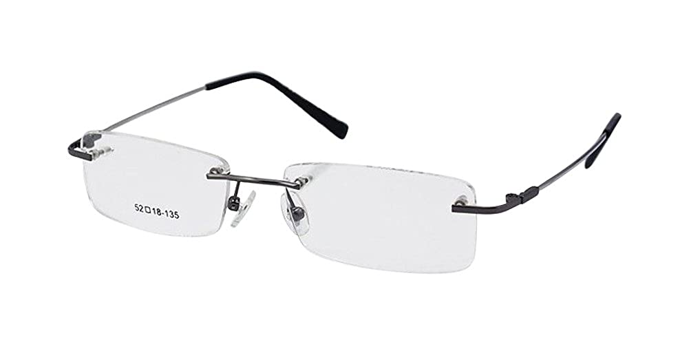 Gunmetal Titanium Alloy Rimless Flexible Blue Eyeglass Frame Optical Hinged Glasses 8125