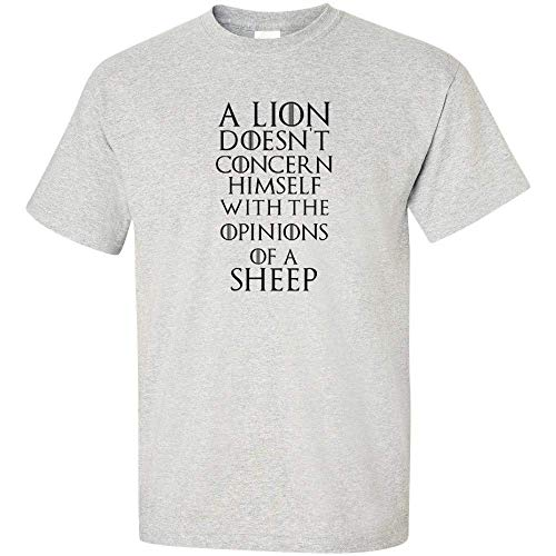 A Lion Doesn/'t Concern Himself Opinions Of Sheep White Logo T Shirt Mens TV King