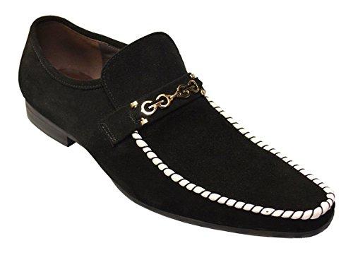 (Zota Men's Genuine Suede Leather Italian Design Italy Slip-On Moccasin Loafer Shoes G6850-6B, Black/White, 12)