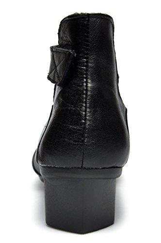 Women's Dress Leather Round Black Strap Pumps Shoes Heel Mid CUNZHAI Ankle Toe 1Od1q