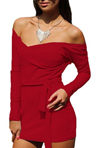 EZON-CH Women's Red Off Shoulder Bodycon Club Dress with Self-tie M