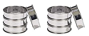 Patisse 02141 4-piece round double rolled tart rings set 3.125 Metal