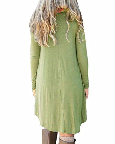 Auxo Mujeres Vestidos Casuales Tallas Grandes Camiseta Largas Irregular T-Shirt Otoño Verde Ejército ES 42/ASIAN XL