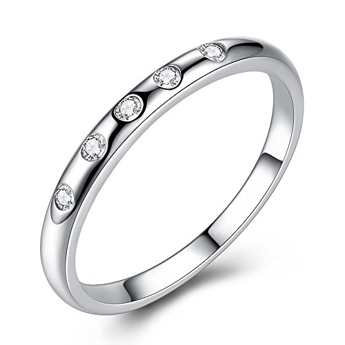 FOREWE Round Cubic Zirconia Eternity Stackable 925 Sterling Silver Ring (8) (Replacement Blades Zing)