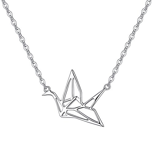 RSJewel Origami Crane Design Sterling Silver Pendant With Adjustable Chain Necklace - New Arrival
