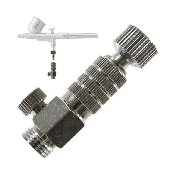 Master-Airbrush-Brand-Airbrush-Quick-Release-Disconnect-Coupler-Plug-with-Airbrush-Airflow-Adjustment-Control-Valve-18-in-BSP-Male-and-Female-Connections