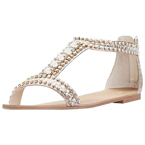 David's Bridal Crystal and Jewel Embellished Flat Sandals Style Posey, Rose Gold, 11 David Womens Peep Toe Pump