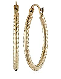 14k Yellow Gold Cable Hoop Earrings