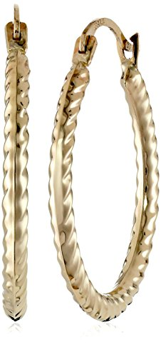 Yellow Gold Cable Hoop Earrings