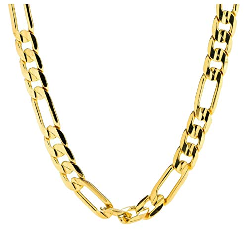Swag Collection LA Gold Chain Necklace 7MM 14Kt Gold Diamond Cut Figaro Link with A Real Solid Clasp USA Made! (27) ()