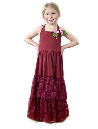 Jennifer and June Burgundy Lace Tiered Halter Maxi Gown for Toddlers and Girls. (6T)