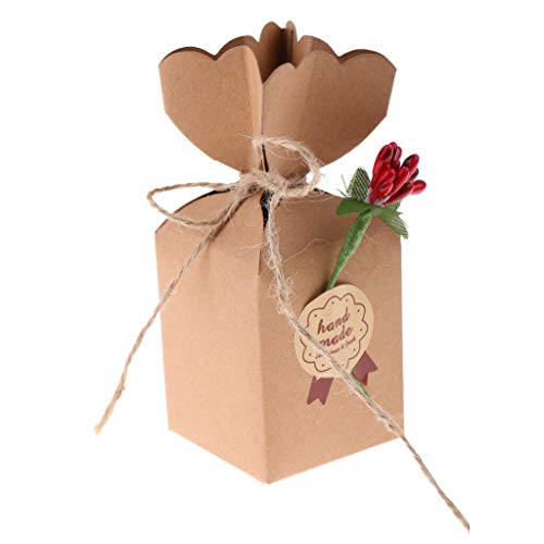 50 Pieces Kraft Paper Candy Chocolate Boxes Baby Shower Wedding Party Gift Favor |Style - Crabapple Flowers|