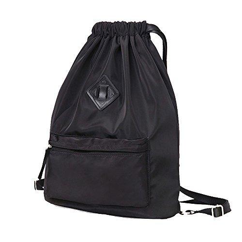Waterproof Travel Sports Yoga Gym Drawstring Backpack Bag Training Gymsack Sackpack(Black)