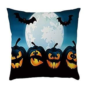 YWLINK Funda De Almohada De Lino Halloween Calabaza ...