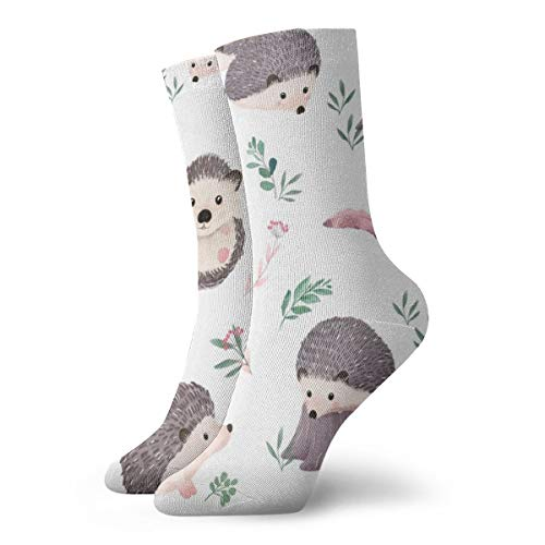 Classics Compression Socks,Watercolor Hedgehog Sport Athletic 11.8inch(30cm) Long Crew Socks for Men Women