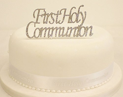 First Holy Communion Reusable Cake Topper | Shiny Crystal Clear Rhinestone with Silver Alloy Metal Pick |1st Holy Communion, Religious Baptism, Catholic and Christening for Boy or Girl Cake Decoration