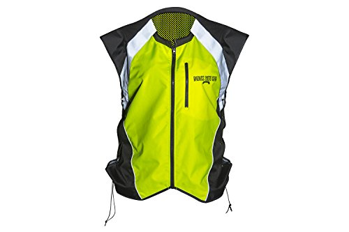Icon Leather Womens Vest (Hi Vis Reflective Motorcycle Safety Vest. Fits Over Jacket, Zip Front, Pocket)