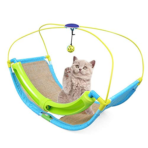 ETH Cat Cradle Swing Bed Cat Nest Bed Sofa Bell Ball Burlap Cat Scratch Board 3-in-one Multi-Function Claw Care Toy Cat Climbing Frame Kitten Scratcher Cat Teaser Wand Pleasure