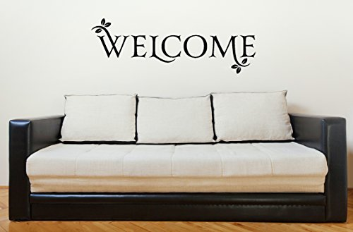 Welcome Quote with Leaves Large Wall Decal for Entryway Dcor 34x11.5 Black