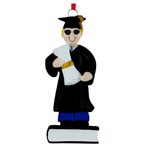 Personalized Graduate Boy Christmas Tree Ornament 2019 - Blonde Man Dress Sunglass Diploma Book College Under-Graduation PhD Masters Degree New End Teen - Free Customization (Yellow Hair Male) ()