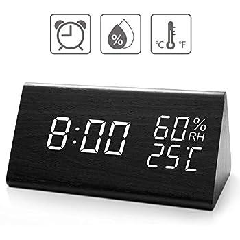 Amazon Com Digital Alarm Clock With Wooden Electronic