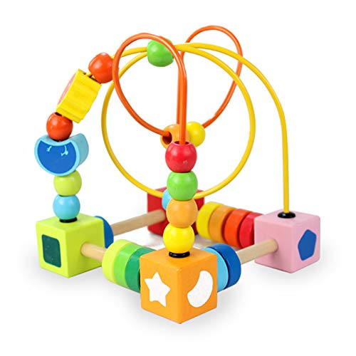 Agirlgle Wooden Baby Toddler Toys First Bead Maze Roller Coaster for Boys Girls Preschool Educational Toys - Classic Developmental Toy for 2 3 4-5 6 Year Old Children