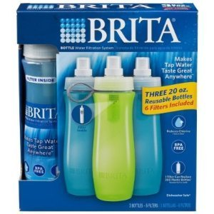 Brita Bottle Water Filtration System ~ Three 20oz Reusable Sports Bottles with 6 Filters Included (Water System Bottle)
