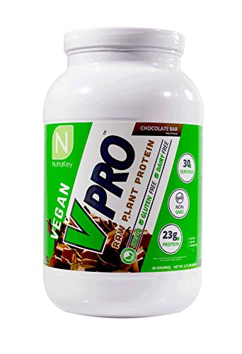 NutraKey V-Pro, Raw Plant Based Protein Powder with 23g of Protein, (Chocolate) 2-Pound