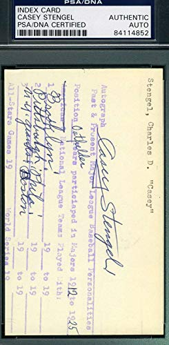 CASEY STENGEL PSA DNA COA Autograph 3x5 Signed Index Card