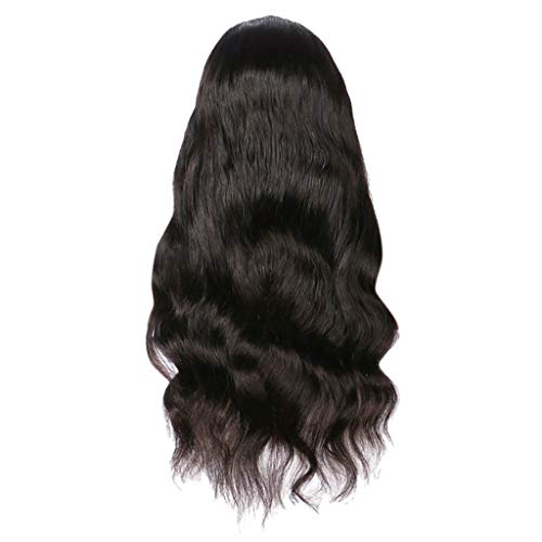 Purpleflower Long Wavy Curly Black Synthetic Wig for Women Heat Resistant Natural Looking Hairpiece for -