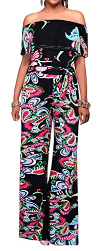 (Aro Lora Women's Off Shoulder Floral Printed Cropped Wide Leg Jumpsuits Rompers Large Black)