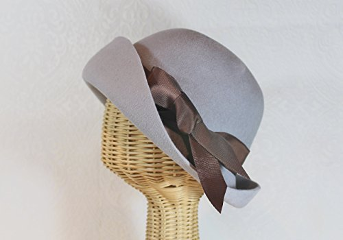 Downton Abbey Inspired Light Grey Lady Mary 20's Cloche Hat in Velour Felt
