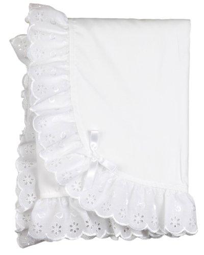 Little Zazzy Newborn Baby Girls Solid White Monogram Receiving Blanket, (Eyelet Baby Blanket)